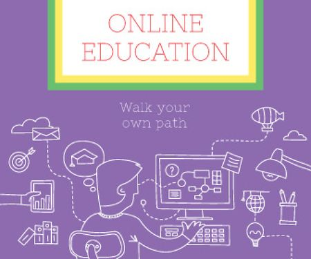 Online education poster Large Rectangle Modelo de Design