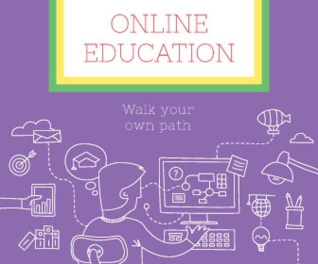 Online education poster Large Rectangle Modelo de Design