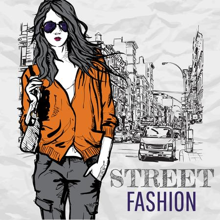 Street fashion ad with Girl in Stylish outfit Instagram AD – шаблон для дизайна