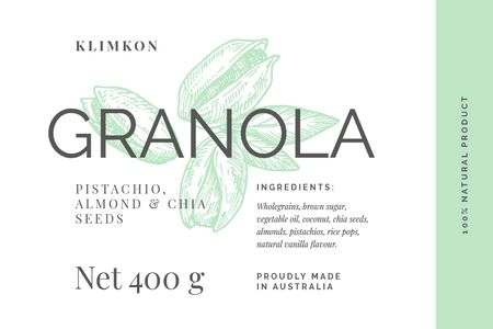 Granola packaging with nuts in green Label – шаблон для дизайну