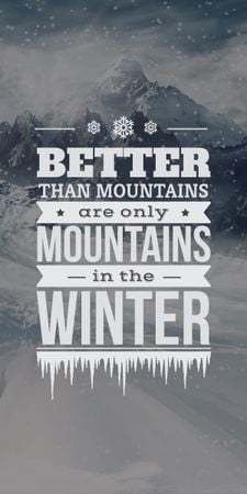 Template di design winter mountains poster with inspirational quote Graphic