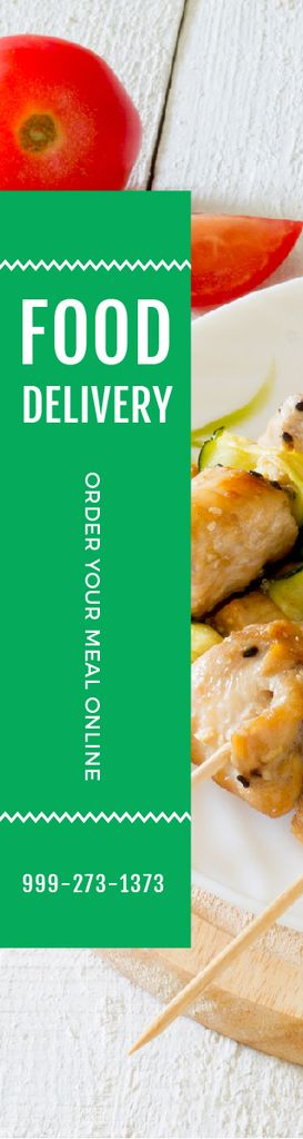 Food Delivery Offer Grilled Chicken on Skewers — Crear un diseño