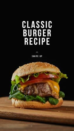 Fast Food recipe with Tasty Burger Instagram Story Modelo de Design