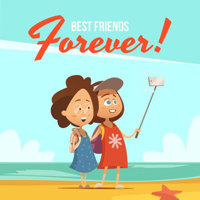 Female Friends Taking Selfie at the Beach Animated Post Design Template