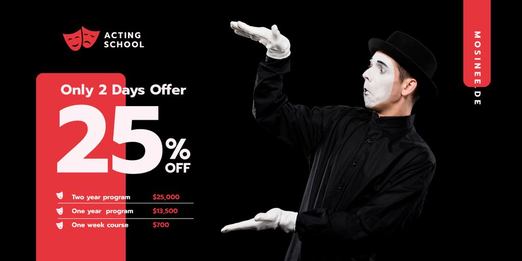 Theater Promotion Mime Performing on Stage | Blog Header — Crear un diseño