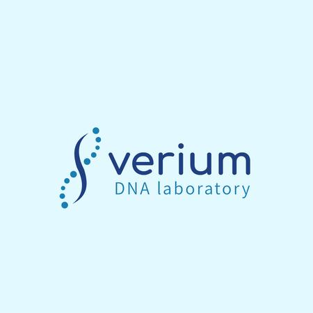 Template di design Test Laboratory Ad with DNA Molecule Icon Logo