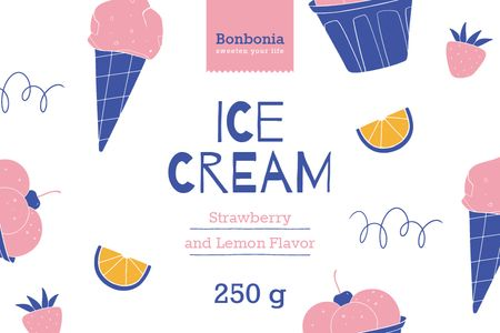 Plantilla de diseño de Ice Cream ad with cones and fruits in pink Label