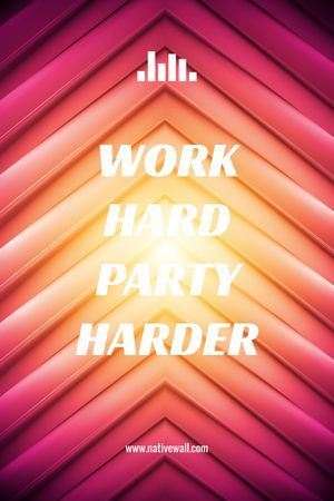 Plantilla de diseño de Hard Work Quote on Geometric Bright Background Tumblr