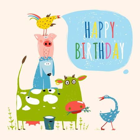 Happy birthday Greeting with Cute Animals Instagram Modelo de Design