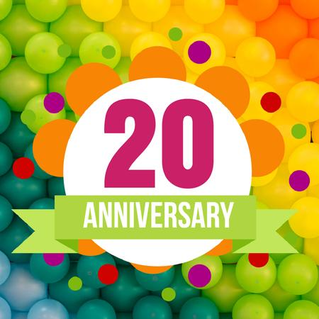 Anniversary celebration on Colourful Pattern Animated Post Design Template