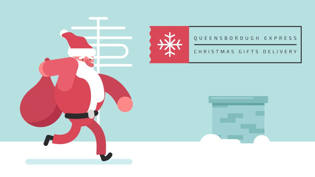 Santa Claus running on roof — Create a Design