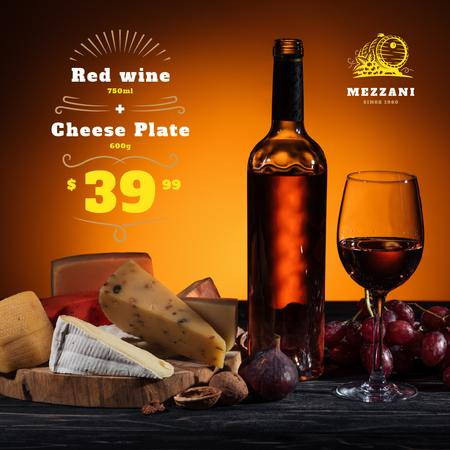 Winery Offer Wine Bottle with Cheese Instagram AD Modelo de Design