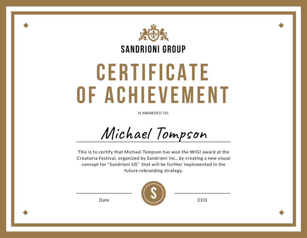 Winning Festival award confirmation in golden — Crear un diseño