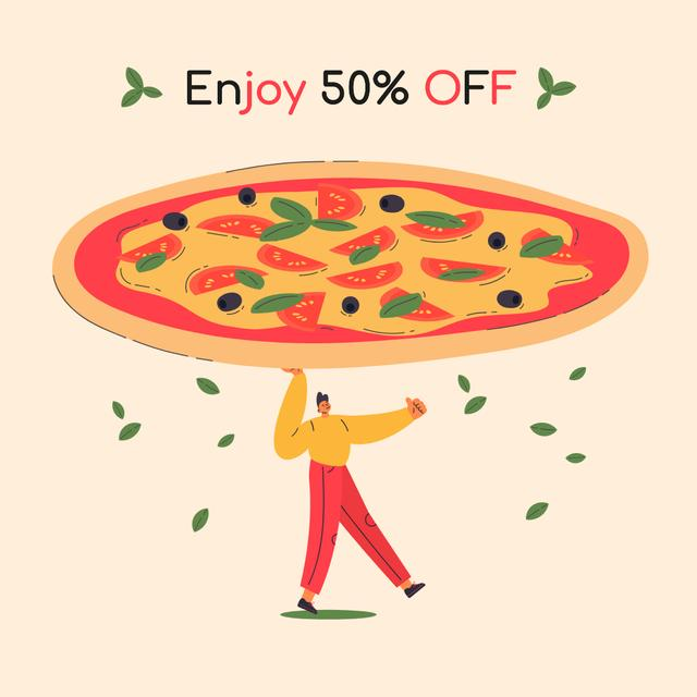 Pizzeria offer with Giant Pizza Instagram AD Design Template