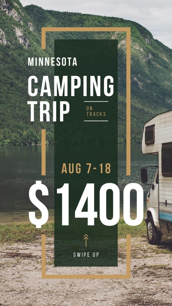 Camping Trip Invitation Travel Trailer by Lake — Create a Design