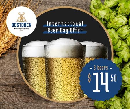 Beer Day Offer Glasses and Hops Facebook Modelo de Design