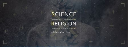 Ontwerpsjabloon van Facebook cover van Citation about science and religion