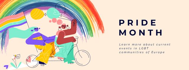 Pride Month Women on Bicycle Facebook Video coverデザインテンプレート