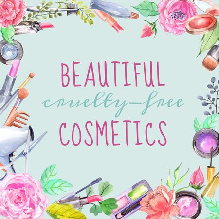 Plantilla de diseño de Cruelty-free cosmetic products in flowers Instagram AD
