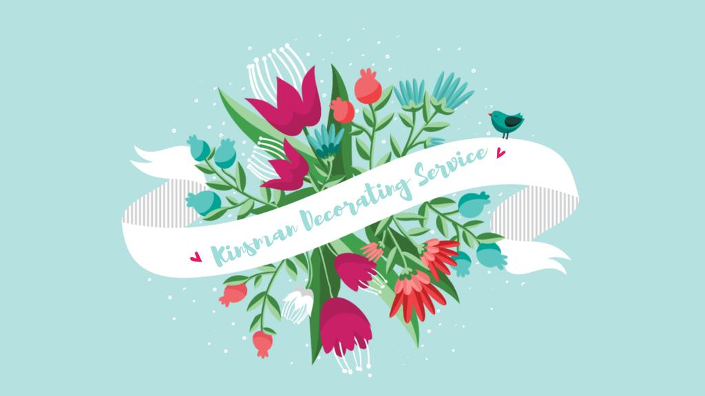 Greeting Ribbon with Flowers and Bird — Créer un visuel