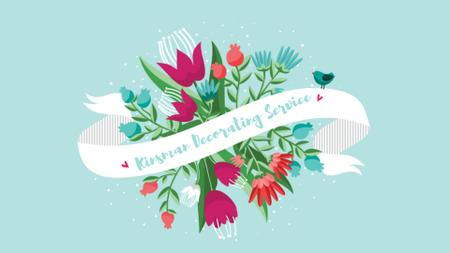 Plantilla de diseño de Greeting Ribbon with Flowers and Bird Full HD video