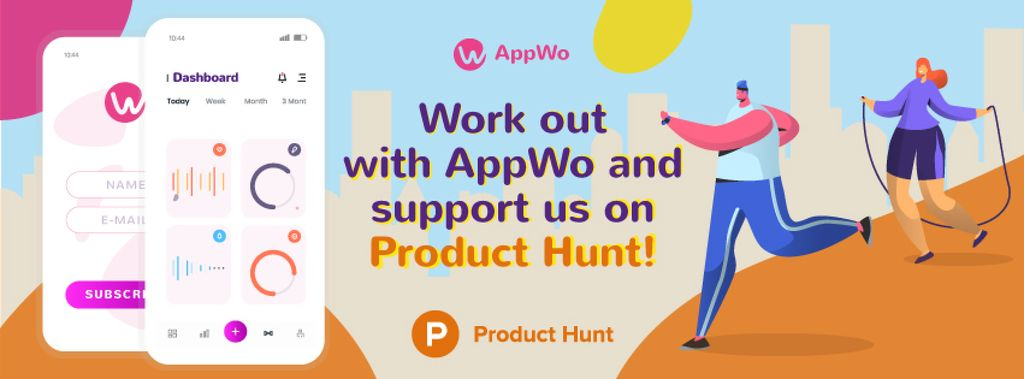 Product Hunt Promotion Fitness App Interface on Gadgets — Create a Design