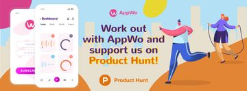 Product Hunt Promotion Fitness App Interface on Gadgets | Facebook Cover Template
