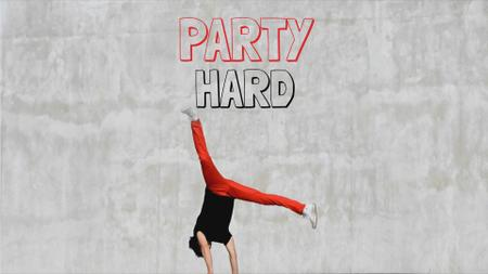 Plantilla de diseño de Party Invitation Man Break Dancing Full HD video