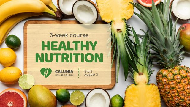 Food Store Offer Fresh Tropical Fruits FB event cover Modelo de Design