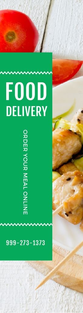 Designvorlage Food Delivery Offer Grilled Chicken on Skewers für Skyscraper