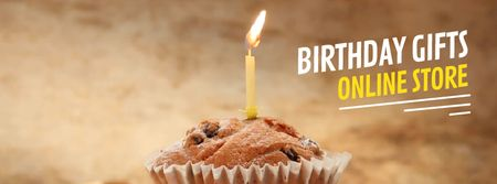 Birthday candle on muffin Facebook Video cover Modelo de Design