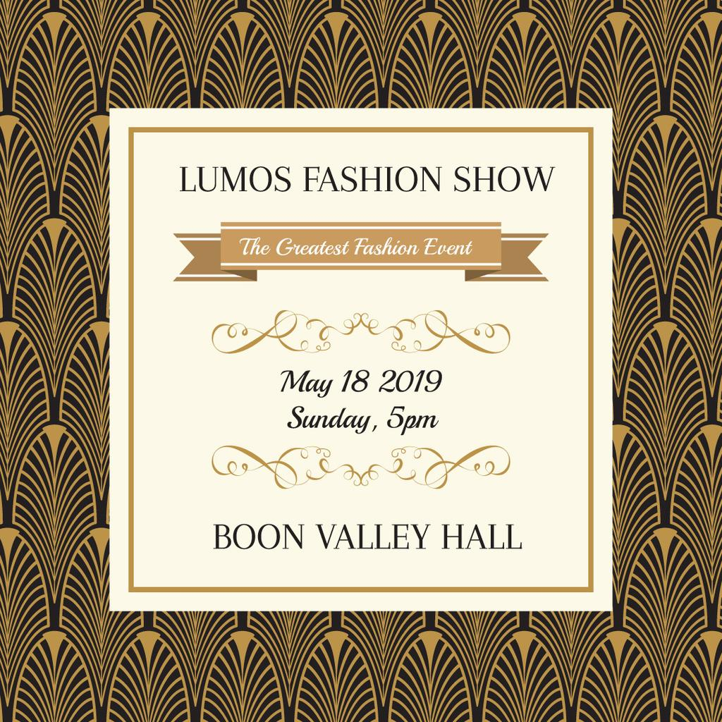 Fashion Show invitation Golden Art Deco pattern — Создать дизайн