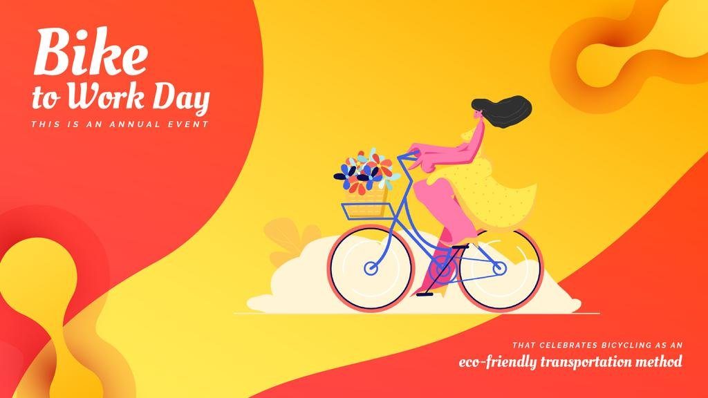 Girl riding bicycle with flowers — Crea un design