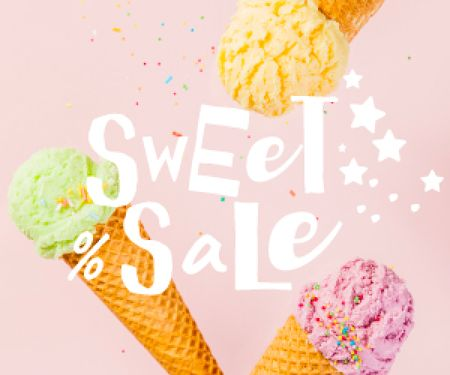 Template di design Ice Cream sale with cones Medium Rectangle