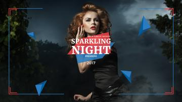 Night Party Invitation Woman in Black Dress | Youtube Channel Art