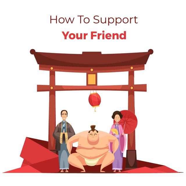 Ontwerpsjabloon van Animated Post van Sumo fighter with his supporters