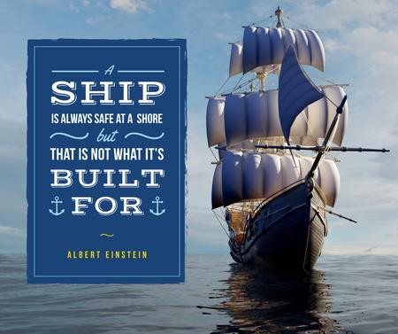Plantilla de diseño de Inspiration Quote on Ship with white sails Facebook
