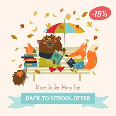 Back to school Books offer with cute Animals Instagram AD – шаблон для дизайну