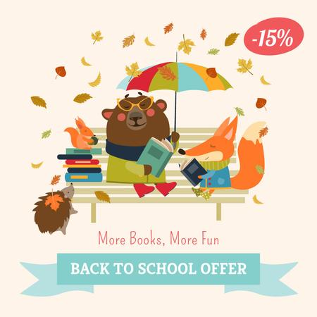 Modèle de visuel Back to school Books offer with cute Animals - Instagram AD
