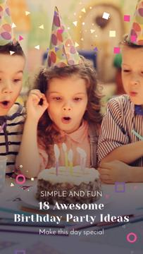 Birthday Party Organization Kids Blowing Cake Candles | Vertical Video Template
