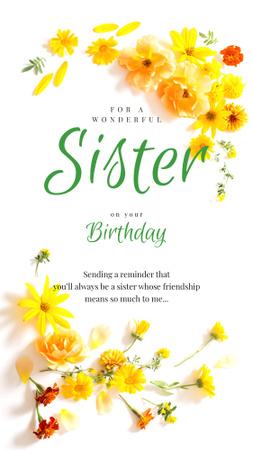 Plantilla de diseño de Tender spring Flowers on Birthday Instagram Story
