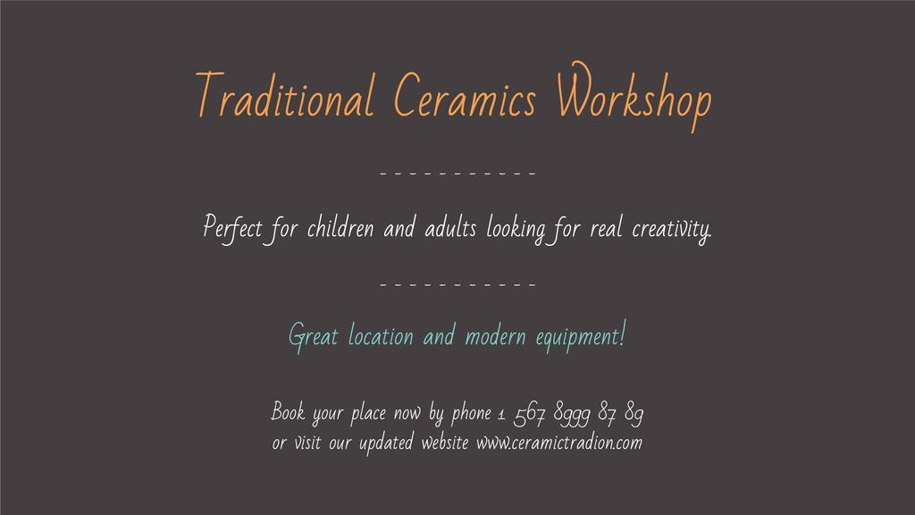 Traditional Ceramics Workshop — Créer un visuel