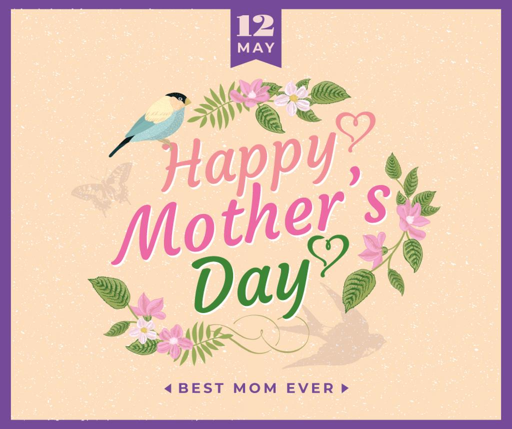 Mother's Day greeting in spring Flowers frame — Créer un visuel