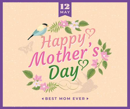 Mother's Day greeting in spring Flowers frame Facebook – шаблон для дизайну