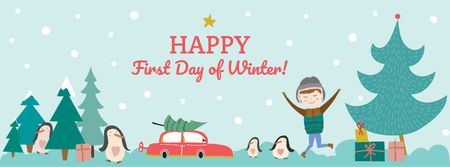 First day of Winter with Happy Kid Facebook cover Modelo de Design