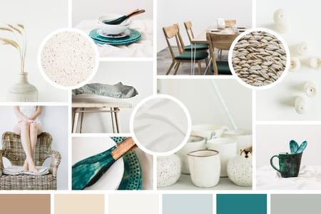 Stylish Interior decor and ceramics Mood Board – шаблон для дизайна