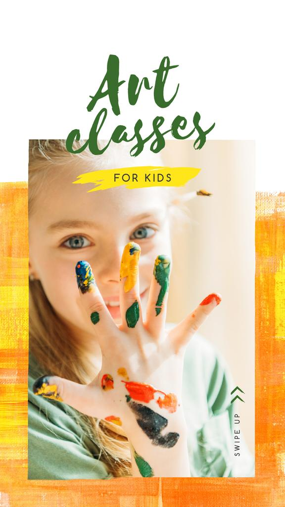 Art Classes Ad Child with Hand in Paint — Створити дизайн