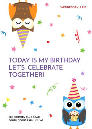 Birthday Invitation with Party Owls Invitation Tasarım Şablonu