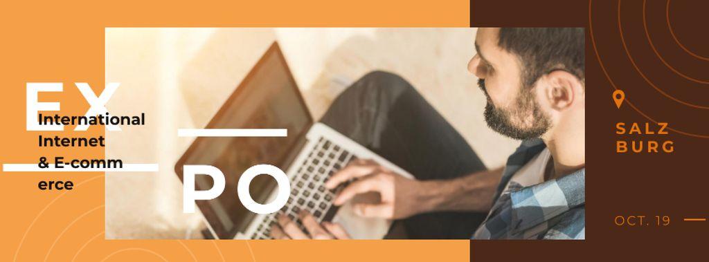 Man working on laptop Facebook cover – шаблон для дизайну