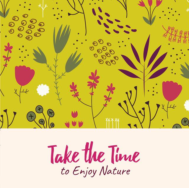 Modèle de visuel Nature Inspiration with Flower Doodles on Yellow - Animated Post